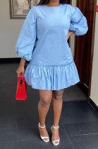 Zipper Fashion Falbala Shrink Fold Loose Mini Dress RMH8705