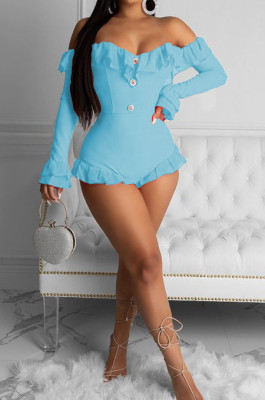 Blue Backless Flounce Net Yarn Joining Together Jumpsuit MLL132