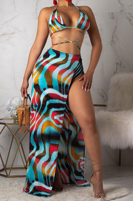 Blue Milk Silk Euramerican Women Summer Sexy Bikini Chiffon Coat Cloak Fashion Three Pieces Swinsuits ORY5097