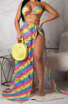 Yellow Euramerican Women Summer Sexy Bikini Chiffon Coat Cloak Fashion Three Pieces Swinsuits ORY5097