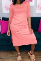 Pure Color Round Neck Open Fork Midi Dress HY5207
