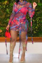 Sexy Womenswear Net Yarn Bind Mini Dress NK210