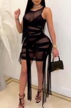 Sexy Net Yarn Perspective Bind Sleeveless Vest Mini Dress SY8801