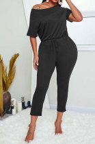Nine Points Jumpsuit Pure Color Loose Round Neck Short Sleeves Trendy Casual Pants Sets RMH8123