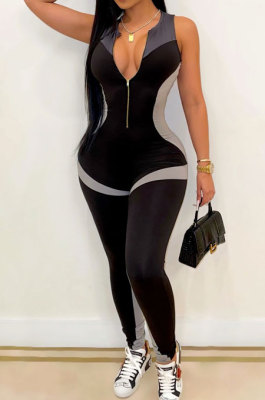 Tight Small Vest Shirred Detail Pants Yoga Bodycon Jumpsuits R6411