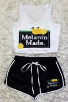 Sexy Pattern Print Vest Shorts Two-Piece SDD9347