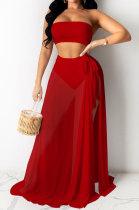 Euramerican Women Pure Color Net Yarn Three Pieces Swimsuits QQM4225