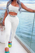 Pure Color Trendy Letter Printing Tight Sport Pants Sets MF6608