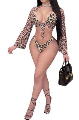Net Yarn Leopard Bikini Three Pieces Swimsuits YYZ532