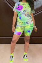 Tie Dye Printing Positioning Wording Trust Smiling Face Simplee Shorts Sets SQ940
