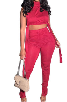Pure Color Shirred Detail Open Fork Micro Flared Trousers Sport Casual Pants Sets WXY8831