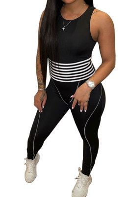 Euramerican Women Casual Printing Sleeveless Bodcon Jumpsuits QMQ8832