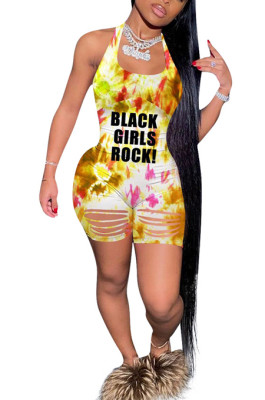Tie Dye Print Letter Hurnt Flowers Jumpsuits AFY687