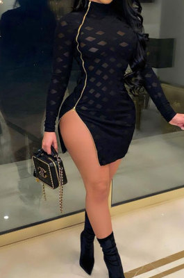 Sexy Zipper Open Fork Hollow Out High Neck Cultivate One's Morality Package Buttocks Mini Dress K2081