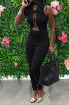 Fashion Casual Chest Eyelet Bind Sexy Backless Bodycon Jumpsuits MDF5216