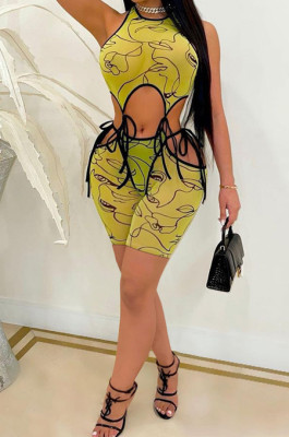 Digital Printing Sleeveless Short Pants Hollow Out Sexy Two-Piece ARM8252