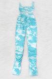 Sexy Slip Bandeau Bra Tie Dye Draw String Ruffle Long Pants Sets MA6670