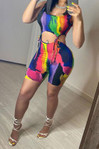 Fashion Casual Printing Bind Shorts Sets YR8066