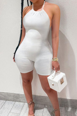 Bind Rib Backless Sexy Romper Shorts NK217