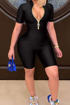 Fashion Euramerican Women Pure Color Zipper Romper Shorts WMZ2627