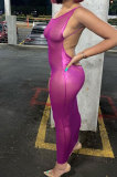 New Solid Color Backless Mesh Perspective Women Slim Dress FWB20859