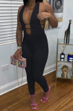 At Home Sexy Collect Waist Pure Color Bodycon Jumpsuits C3047