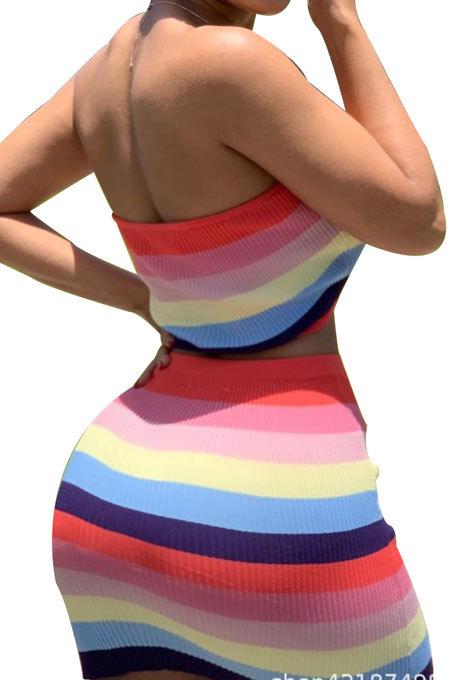 Women Sleeveless Printing Rainbow Shorts Sets AB6604