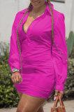 Euramerican Trendy Low Cut V Neck Pure Color Loose Shirt Mini Dress C1021