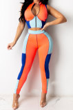 Spliced Contrast Color Sexy Cultivate One's Morality Short Sleeve Zipper Pants Sets LA3259