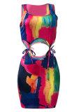 Sexy Women Tie Dye Bind Mini Dress NK224