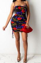 Cute Lips Printed Slip Mini Dress PU6061