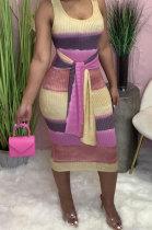 Fashion Contrast Color Round Neck Sleeveless Sexy Mini Dress H1623