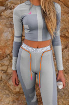 Printing Contrast Color Long Sleeve Sport Fitness Suit Sets SX1735104