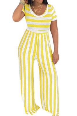 Stripe Round Neck Short Sleeve Wide Leg Jumpsuits TL6395