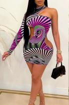 Print Buttocks Positioning Single Sleeve Off Shoulder Dresses F8338
