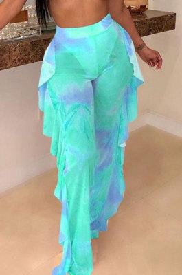 Women Net Yarn Printuing Falbala Beach Pants LD8762