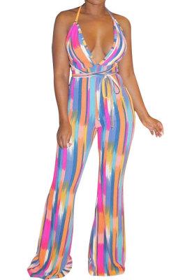 Trendy Sexy Dark V Backless Colorful Slip Printing Wide Leg Jumpsuits N9274