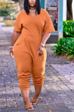 Casual Solid Split Joint V Neck Straight Jumpsuits BDF8059