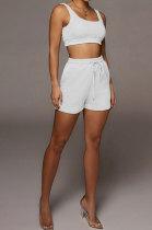 Euramerican Women Pure Color Double Vest Sport Shorts Sets HR8163