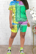 Casual The Positioning Print Shorts T-Shirt Two-Piece WJ5202
