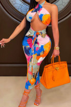 Fashion Women Printing Backless Shirred Detail Skirts Sets CY1317