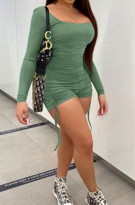 Fashion Women U Neck Pure Colro Shirred Detail Romper Shorts HR8161