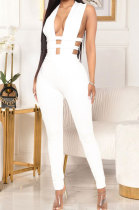 Pure Color Hollow Out Zipper Dark V Neck Sexy Bodycon Jumpsuits GL6352