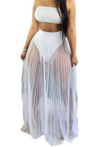 Euramerican Women Fashion Chest Wrap Net Yarn Skirts Three Pieces Swimsuits HR8162