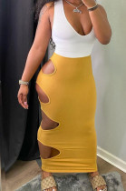 Prue Color Hole Hole Sexy Package Hip Long Dress WJ5203