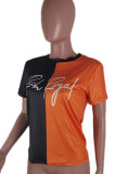 Round Neck Printing Color Matching T Shirts Plus Size Tops BLE2245