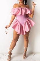 Fashion Prue Color Irregularity Pleated Halterneck Dresses OEP6262