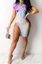High Elastic Rib Zipper Short Sleeve Splash-ink Printing Mini Dress RMH8909