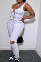 Night Club Prue Color Bind Vest Fold Long Pants Two-Piece OEP6260