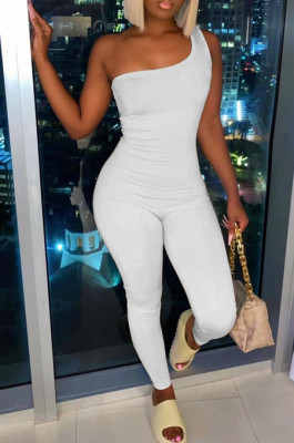 Sexy One Shoulder Sleeveless Carry Buttock Sport Jumpsuits FH130